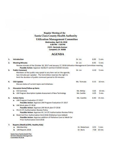 formal management meeting agenda template