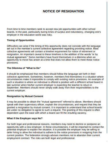 formal notice of resignation template