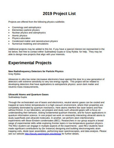 formal project list