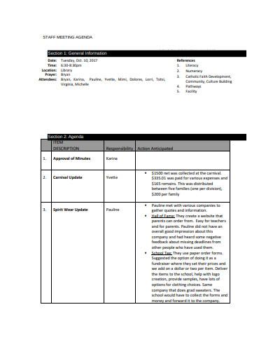 formal staff meeting agenda