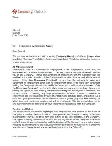 format job offer letter template
