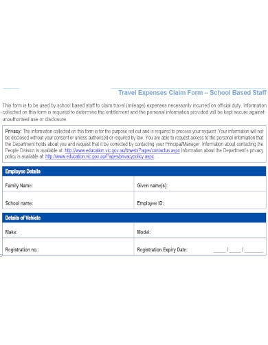 formatted school staff travel allowance claim form template