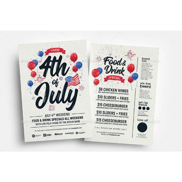 fourth of july flyer menu template