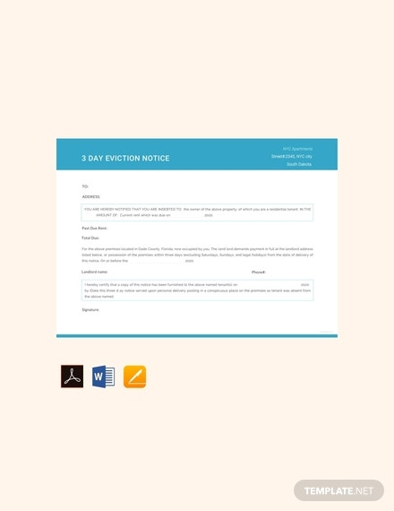 free 3 day eviction notice template 440x570 1