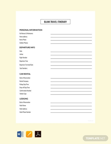 free blank travel itinerary template1