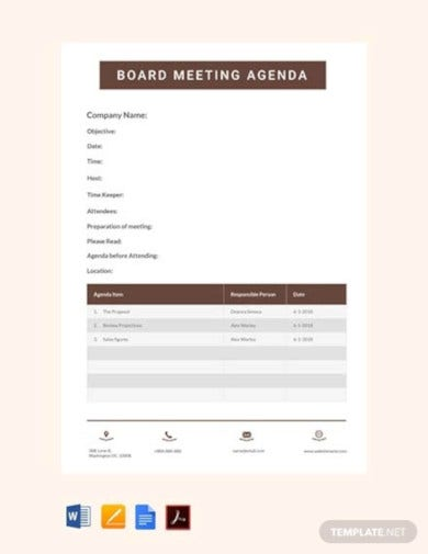 free board meeting agenda template