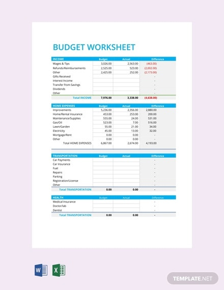free budget worksheet template