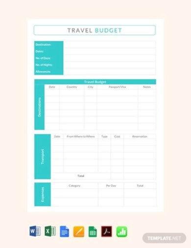 free business travel budget template