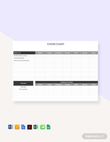 free chore chart template