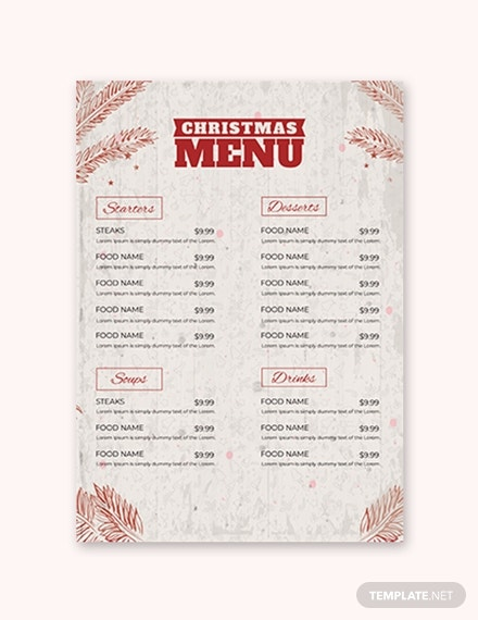 free christmas dinner menu template