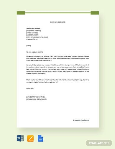 free company name change letter to clients