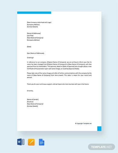 free company name change letter