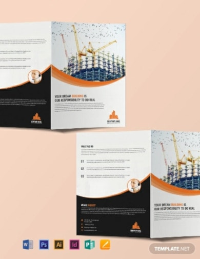 free construction company bi fold brochure template