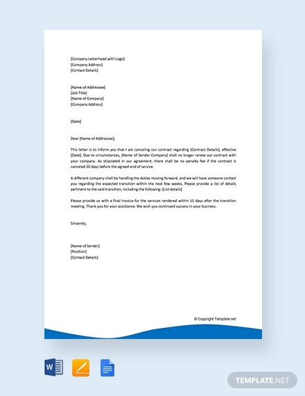 free contract cancellation letter template