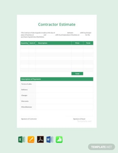 8+ Contractor Estimate Templates - Google Docs, Google Sheets, Word