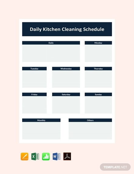 free daily kitchen cleaning schedule planner template