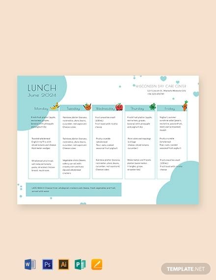 free daycare menu template1