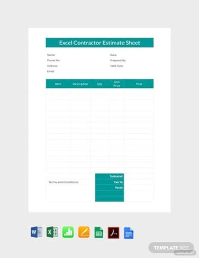 free excel contractor estimate sheet template