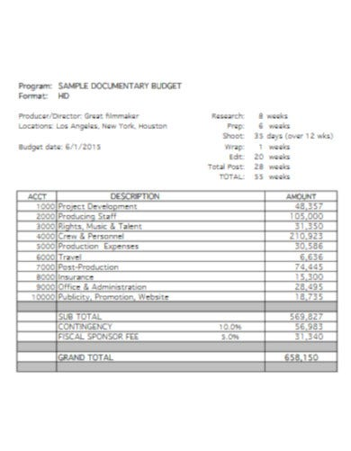 free film production department budget template