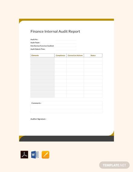 free finance internal audit report template