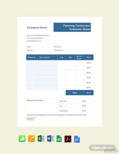 free flooring contractor estimate sheet template