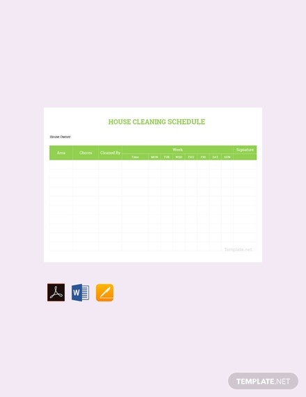 free house cleaning schedule planner template