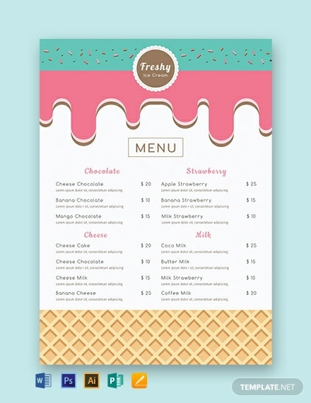 free ice cream menu template
