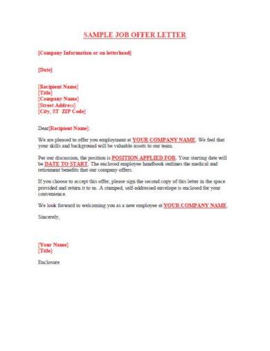 free job offer letter template