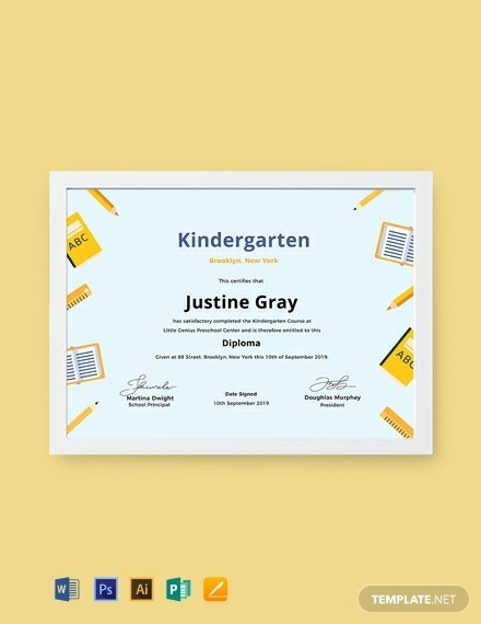 free kindergarten diploma certificate2