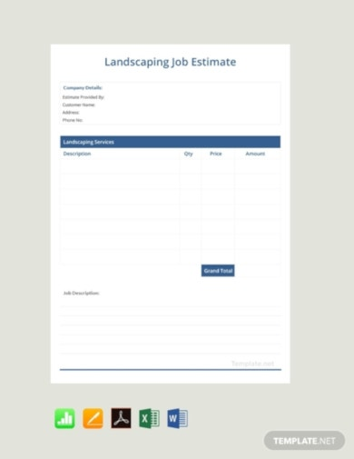 free landscaping job estimate templatejob estimate templates
