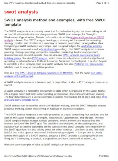 free marketing swot analysis template