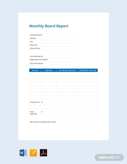 free monthly board report template
