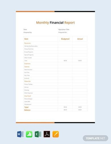 free monthly financial report template