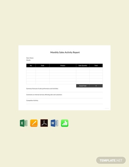 free monthly sales activity report template 440x570 1