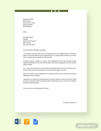 free new job resignation letter sample