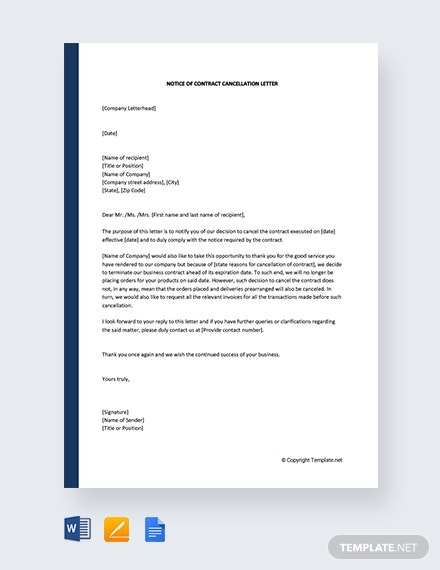 free notice of contract cancellation letter template