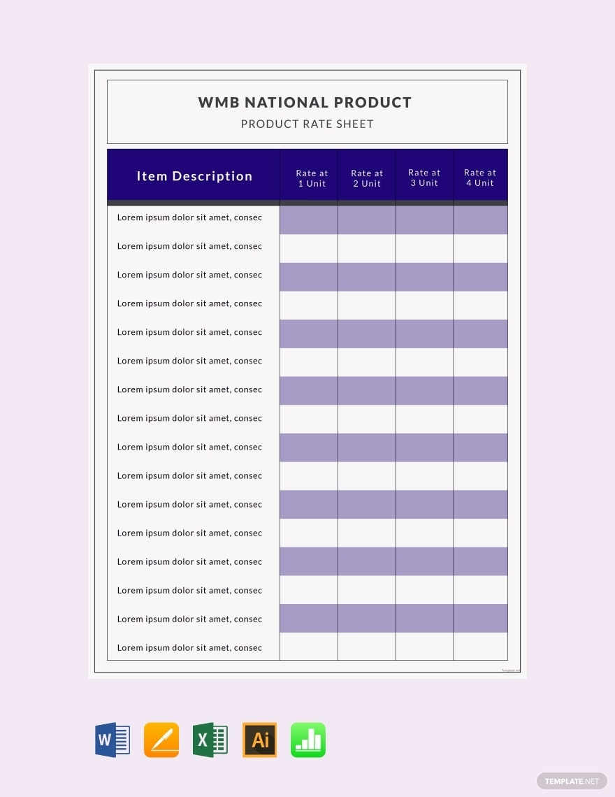 free product rate sheet template