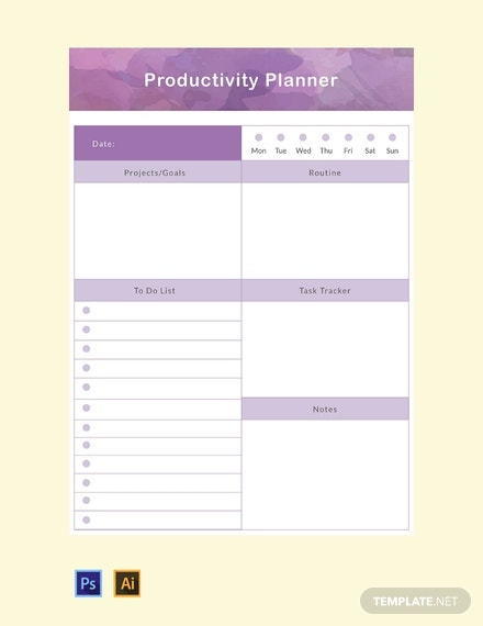 free productivity planner template