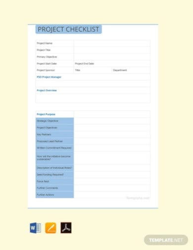 free project checklist template