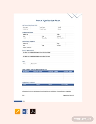 free rental application form template
