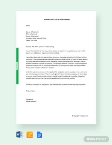 free resignation letter after internship