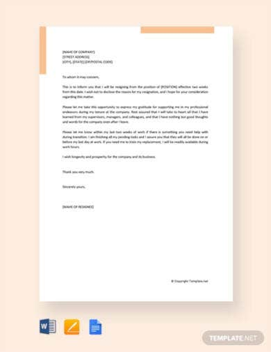free resignation letter for company