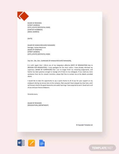 free resignation letter with regret