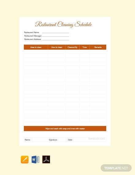 free restaurant cleaning schedule planner template