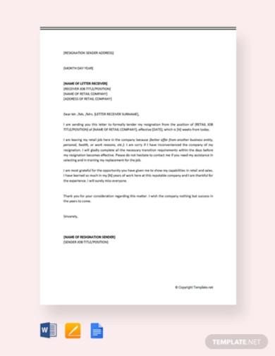 free retail job resignation letter
