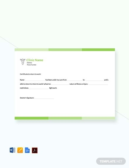 free return to work doctors note template