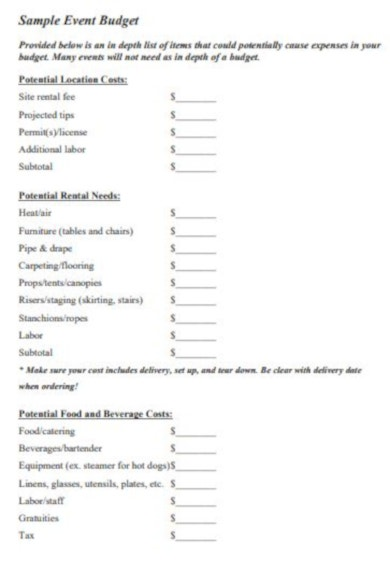 free sample budget layout