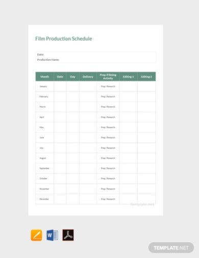 free sample film production schedule template2