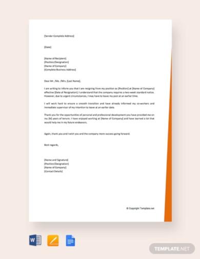 free short notice resignation letter