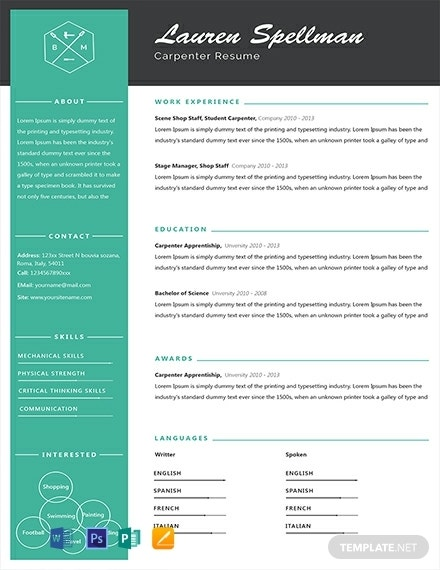 free simple carpenter resume template1